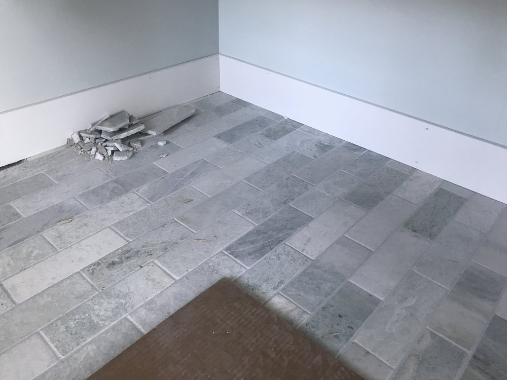 September 3 - Master bath tile with grout