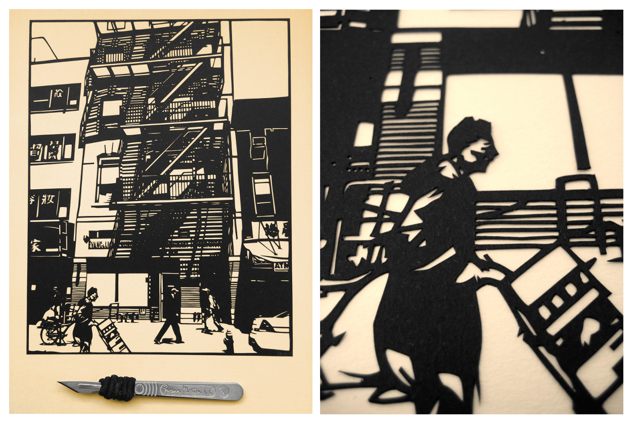 eatsleepdraw :     Hand cut papercut of my Chinatown piece, including detail shot and scalpel for scale.    Check out more over here!