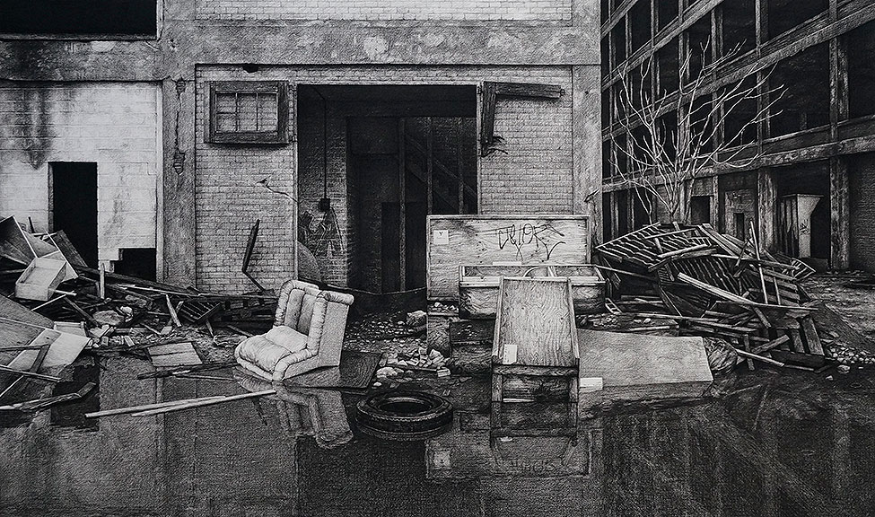 "Stephanie Buer  ""Lazy Boy""  (2014)  Charcoal on paper  38.5 x 60"""