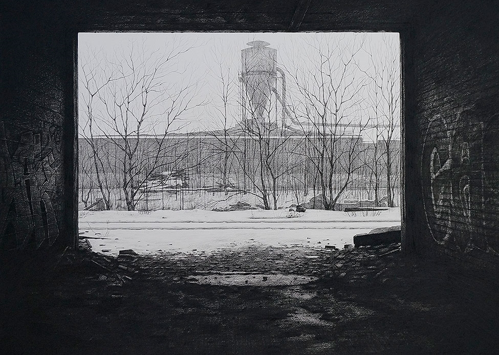 "Stephanie Buer  ""CN Rail""  (2014)  Charcoal on paper  33 x 24"""
