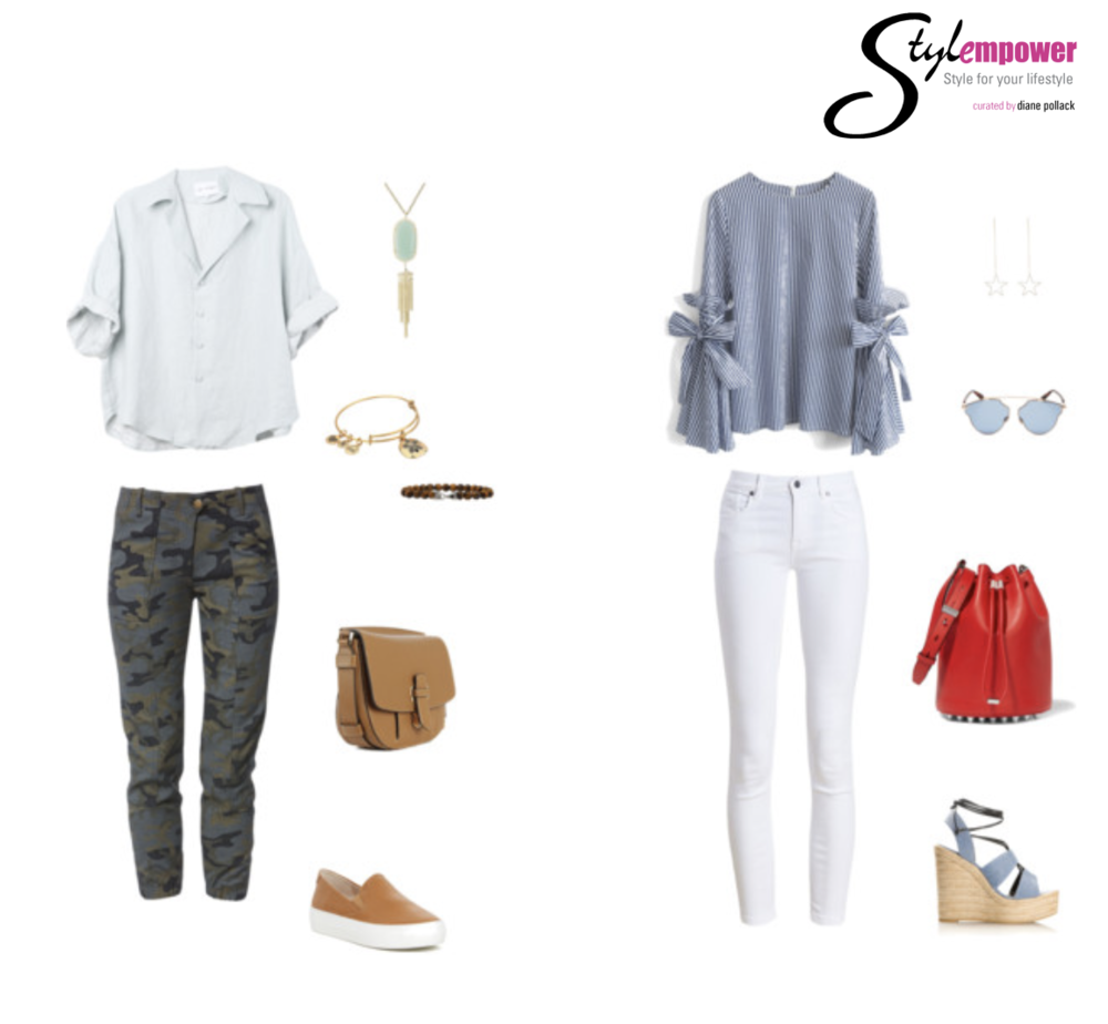 Casual Friday  Stylist Tip  - Outfit 1 - Keep your super casual outfits more polished for the office. You can sub in a white tee for a more weekend look.  Stylist Tip  - Outfit 2 - A pop of color in the accessories adds some fun to a neutral outfit.