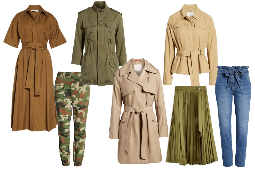 Click on the image to shop these looks. - Utility, cargo, paper-bag waist, trenches and pleated skirts