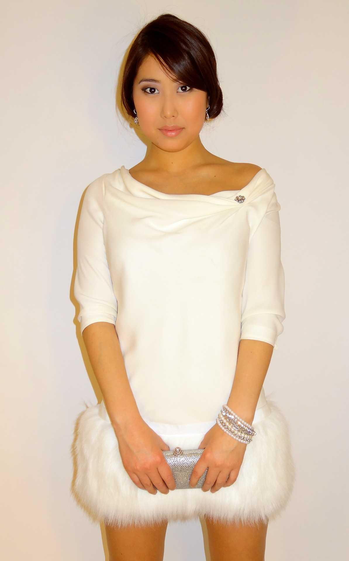 White silk dress.