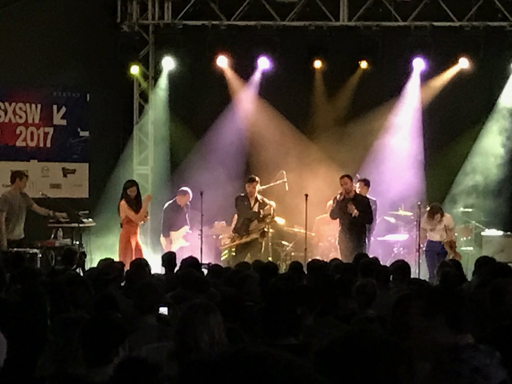 San Fermin lead female vocalist Charlene Kaye plays a packed Stubb's for the SoundExchange party.