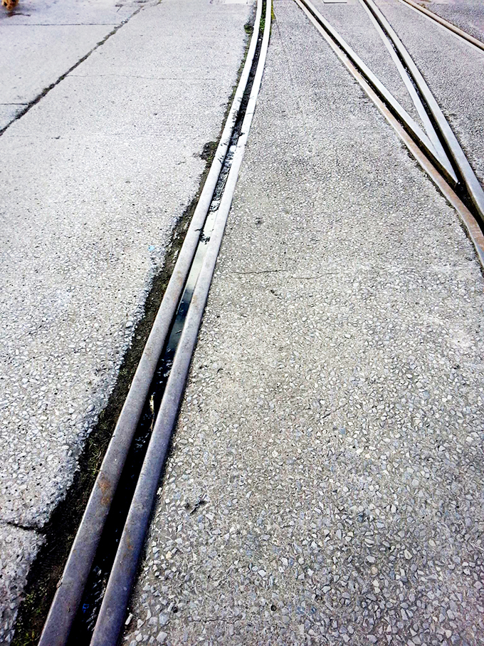 Tram Tracks on Pedestrian Road, Spike Island,  Copyright   © Coffinjune
