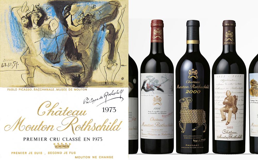 (왼) 피카소의 그림이 담긴 샤토 무통 로쉴드 와인라벨 /  (오) 샤토 무통 로쉴드 와인 시리즈
