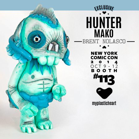 "NYCC 2014 Exclusive- Hunter Mako Edition   Brent Nolasco debuts his latest resin figure exclusively with myplasticheart. Meet Hunter :  ""In my days of wandering in countless nomadic adventures, I came across different forms of life. Some have stuck in the landscapes of my mind, and other have been forgotten. Hunter was one that left an impression. I remember the first time I saw him while on one of my daily walks by the river. He rose out of the murky water at dusk and ate insects. He looked around cautiously so as not to be seen. Then he disappeared, back into the river, not to be seen again. From time to time I would lurk in the shadows to try a catch a glimpse of Hunter again, but my luck has run out. I didn't ever see him again. The only images that I have of him live in my sketch book, until now.""  Standing at almost 8 inches tall, Hunter is cast in resin from an original sculpt by Brent Nolasco.  Each one is indivudially hand painted by the artist himself. Hunter : Mako Edition is available in super limited quantities at the myplasticheart booth #113 throughout NYCC for $120.   Learn more about Brent Nolasco:  Website –  brentnolasco.com  Instagram –  @brentnolasco  Facebook –  www.facebook.com/brent.nolasco"