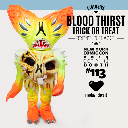 Here is my second release at Myplasticheart booth #113 NYCC, A special Trick or Treat edition of his sofubi figure Blood Thirst, a perfect addition to your Halloween festivities!  Blood Thirst : Trick or Treat edition will be available in limited quantities a the myplasticheart booth #113 at New York Comic Con.