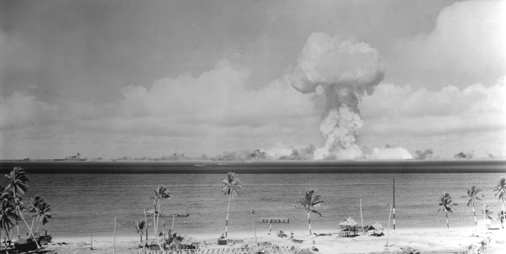 "July 1, 1946, The atomic cloud during the ""Able"" nuclear test at the Bikini atoll. National Archives and Records Administration, U.S. Navy (photo 80-G-396226)"