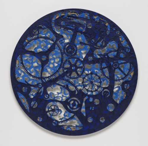 Analia Saban Ultramarine Pocket Watch #4 2014 Laser sculpted acrylic paint on canvas 42 x 42 x 1 inches