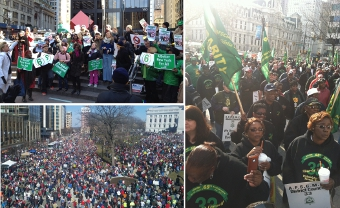 "Clockwise from Top Left : ""Tier It Down"" Rally in Zuccotti Park (New York City), demonstration during Philadelphia Mayor Nutter's budge address, and about 65,000 people gather at the ""Reclaim Wisconsin"" rally (Madison, Wisc.)"