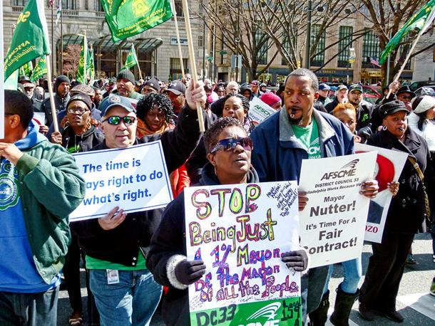 AFSCME members protesting Philadelphia Mayor Nutter's attempt to slash wages and benefits.