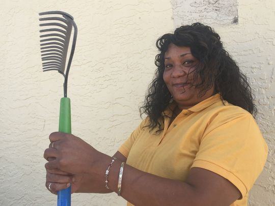 Lori Weathersby, a Whispering Sands tenant, volunteered to aid in the renovations and is excited about the changes. (Photo: Claire Cleveland / The Republic)