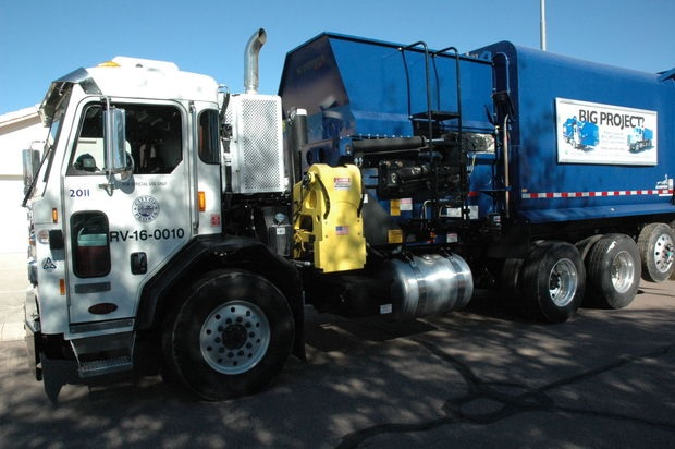 Photo by Leslie McMorrow  One of many City of Peoria solid waste trucks serving citizens every day.