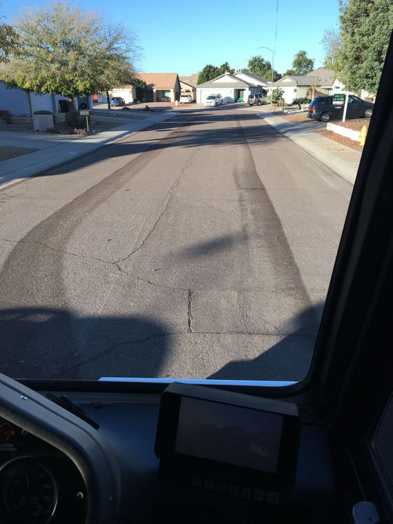 Photo by Leslie McMorrow   Once a street sweeper has been through your neighborhood, you can see the difference.