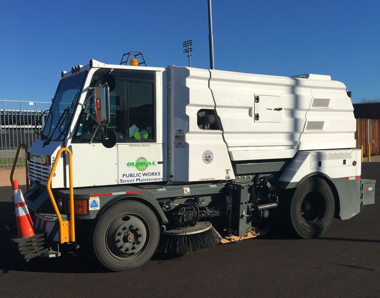 Photo by Leslie McMorrow  A City of Peoria street sweeper, doing its part to keep Peoria clean.
