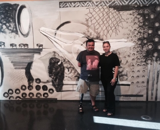 Frank Buffalo Hyde and Courtney Leonard at the Leonardo Museum's CoLABorART in conjunction with the Utah Arts Festival, June 2015.
