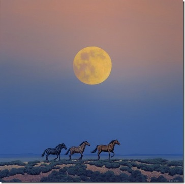 Horses with Moon by Phil Epp