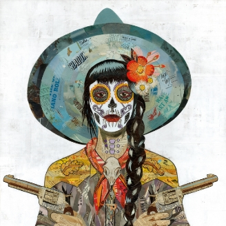 Dolan Geiman Modern West Fine Art Sugar Skull Cowgirl guns