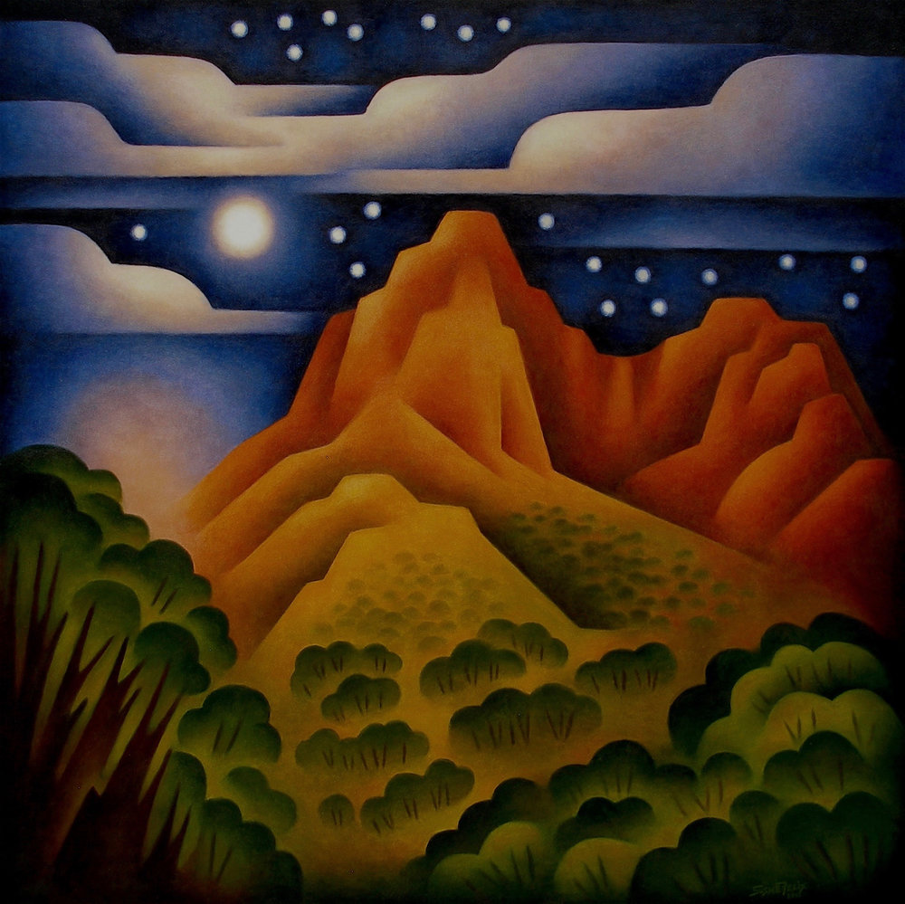 Sushe Felix New Works Modern West Fine Art Moonlit Canyon