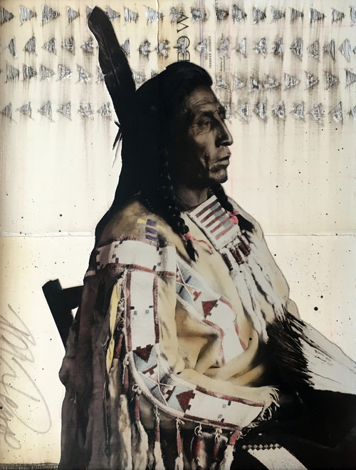 Ben Pease ,  Chief Medicine Crow , mixed media, 14 x 11""