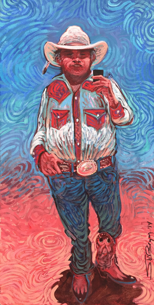Shonto Begay ,  Thirty Year-Old Trophy Buckle,  acrylic on canvas, 24 x 12""