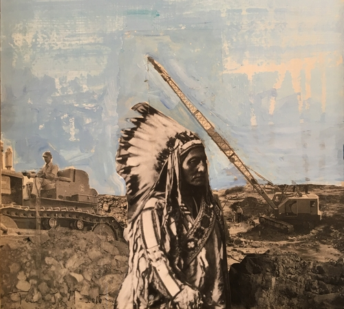 Sitting Bull Standing: collage with oil on panel, 14 x 11 inches