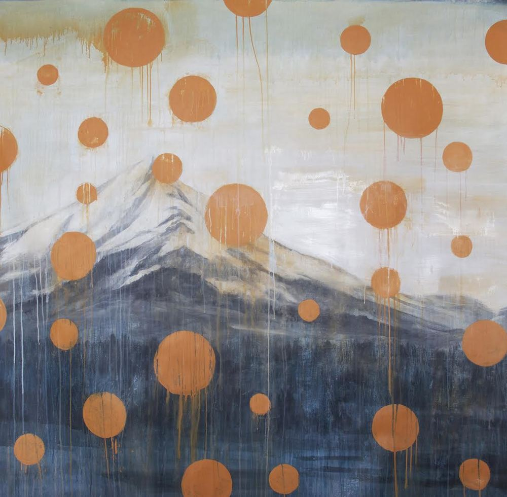 Mt. Shasta: collage with oil on canvas, 72 x 72 inches