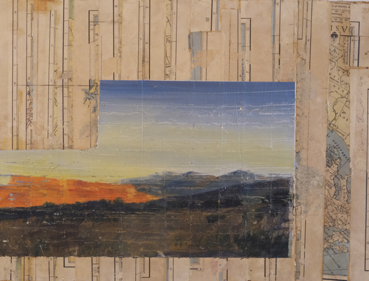Southern Utah: oil on collage on panel, 9 x 12 inches