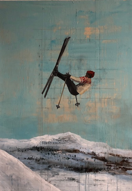 Skier #5: oil with collage on panel, 39 x 28 inches