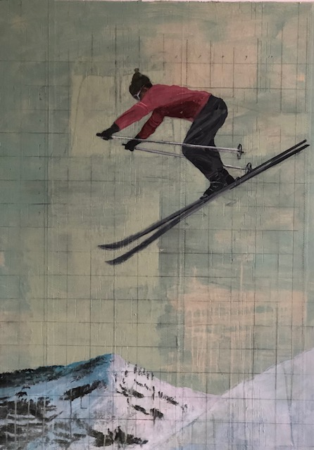 Skier #7: oil with collage on panel, 39 x 28 inches