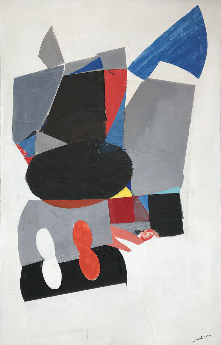 BeatriceMandelman_RedandBlue_CollagewithAcryliconCanvas_48x30inches_1960's.jpg