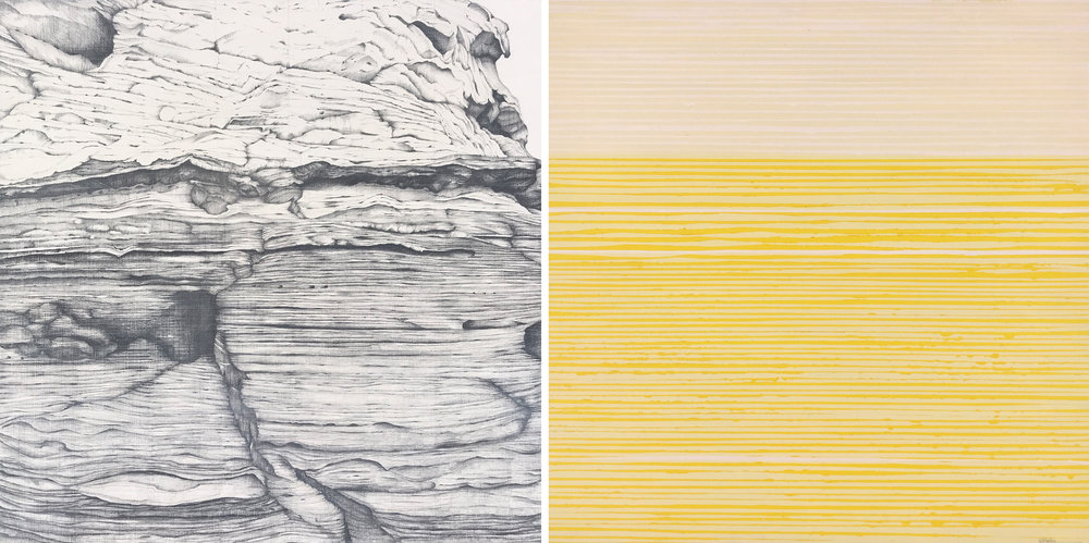 03_Kiki Gaffney_Ridges and Stripes_oil and graphite on wood panels_15x30in