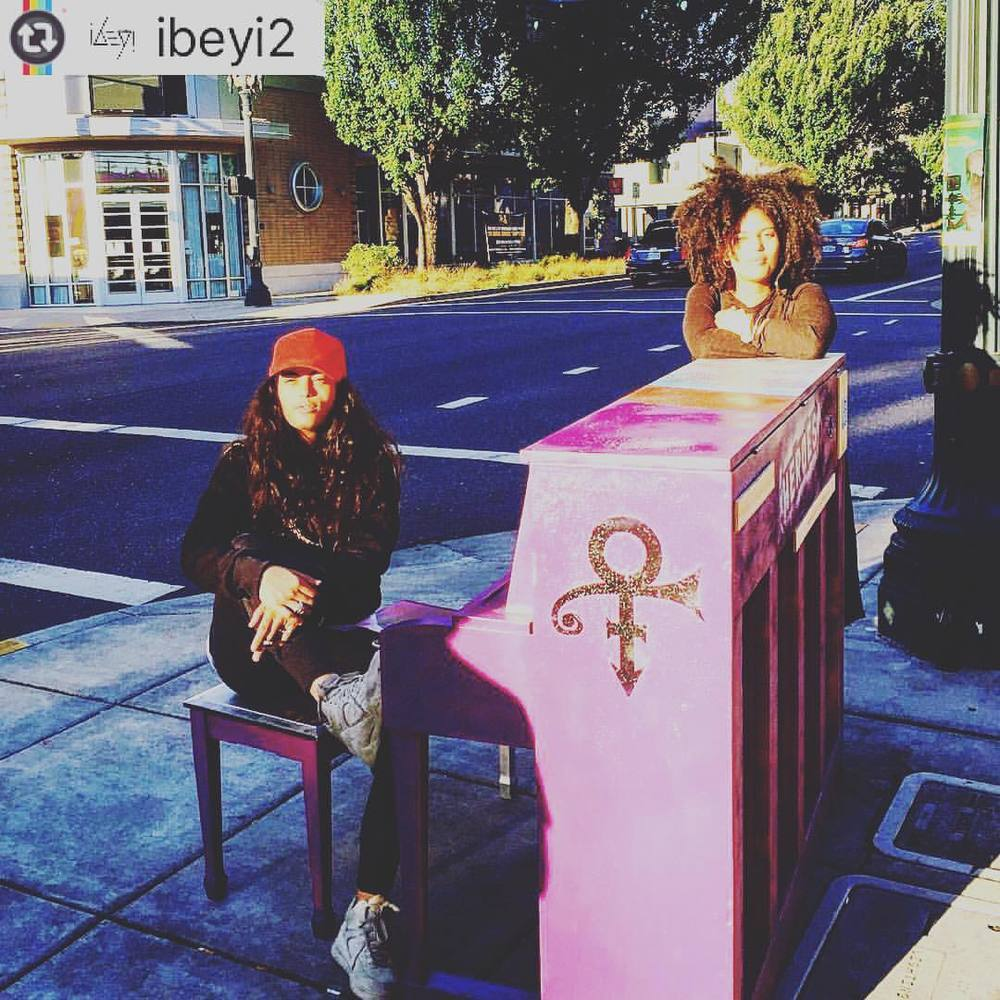 """First thing we saw stepping out of the van in Portland ....Prince forever! ❤️ "" - Ibeyi"