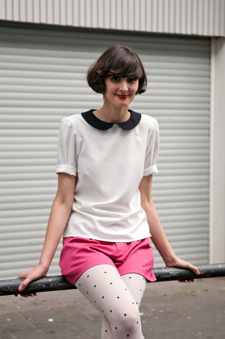 Cologne Spring Women Street Style VerticalThe Locals May 20 2012 Collar Hair Pattern Pink Polka Dots Fringe