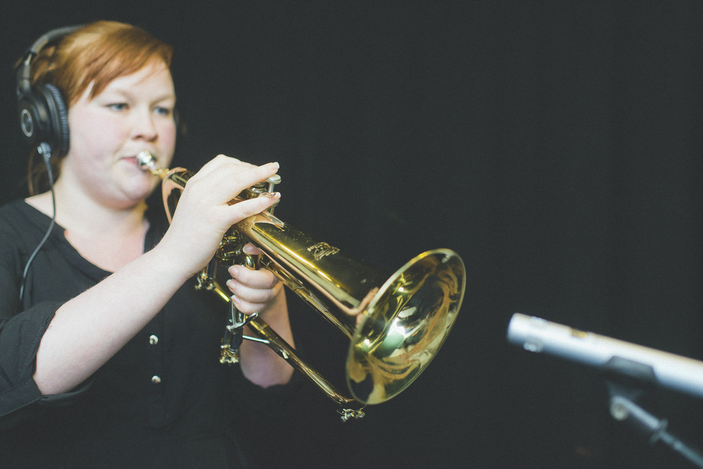 Monica from Sea Bass Kid on the trumpet