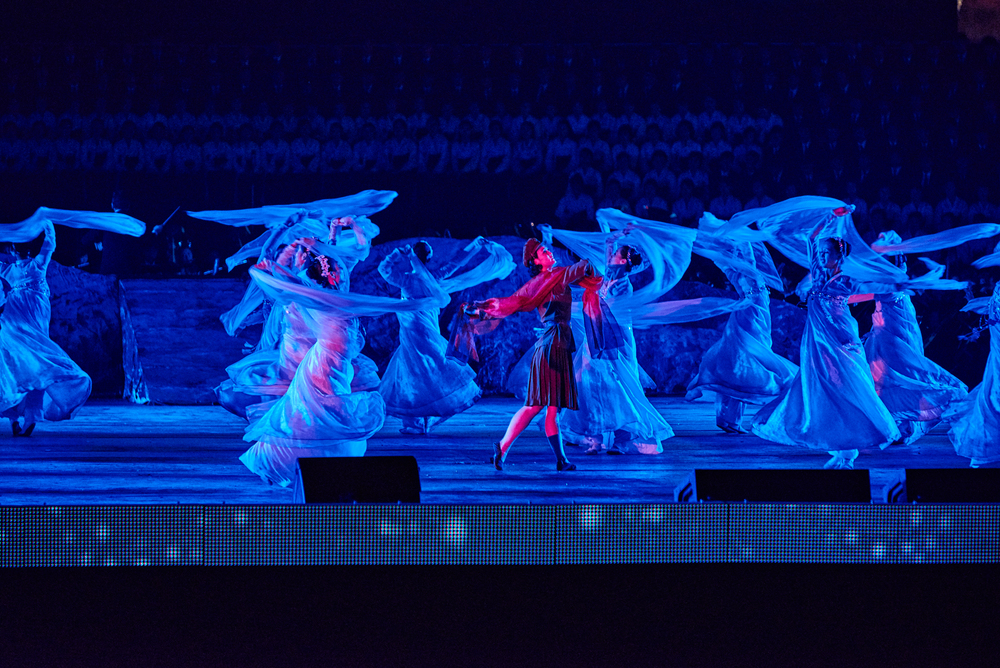 Korean Opera at 70th Anniversary concert outside the waterfront of Kim -Il Sung Square.Pyongyang, NK