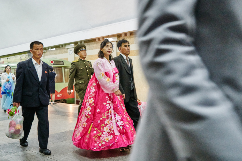 Insiders look at Pyongyang metro station.