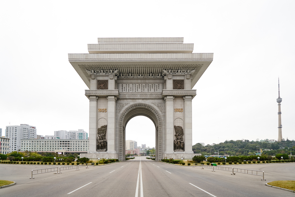Rising 50 Meteres/197 feet high in Moranbong district is Arch of Triumph was built to commemorate the Korean resistance to the Japanese from 1925-1945. Pyongyang, NK