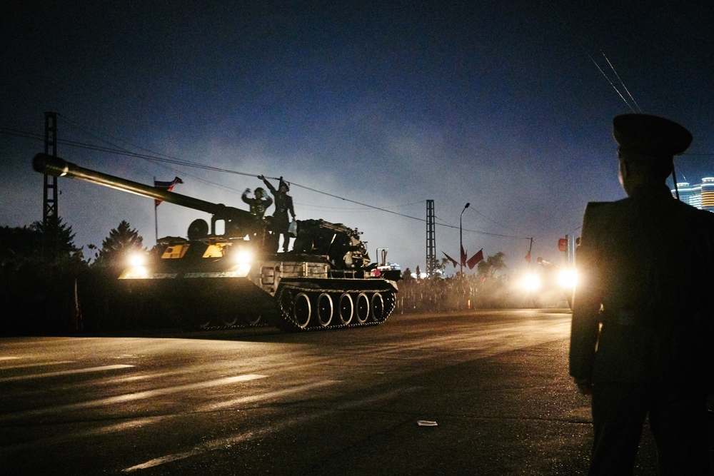 Tanks roll down Tongdaewon Street after the main 70th Anniversary party.Pyongyang, NK.