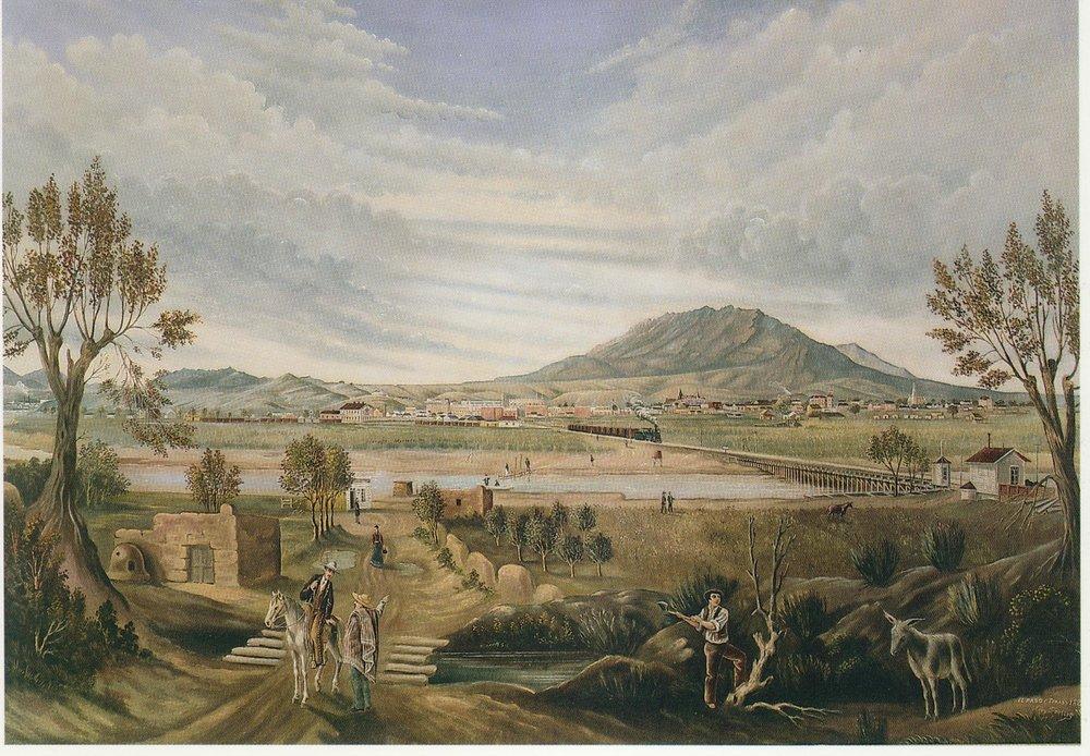 """""""View of El Paso"""", Leon Trousset, 1885"""