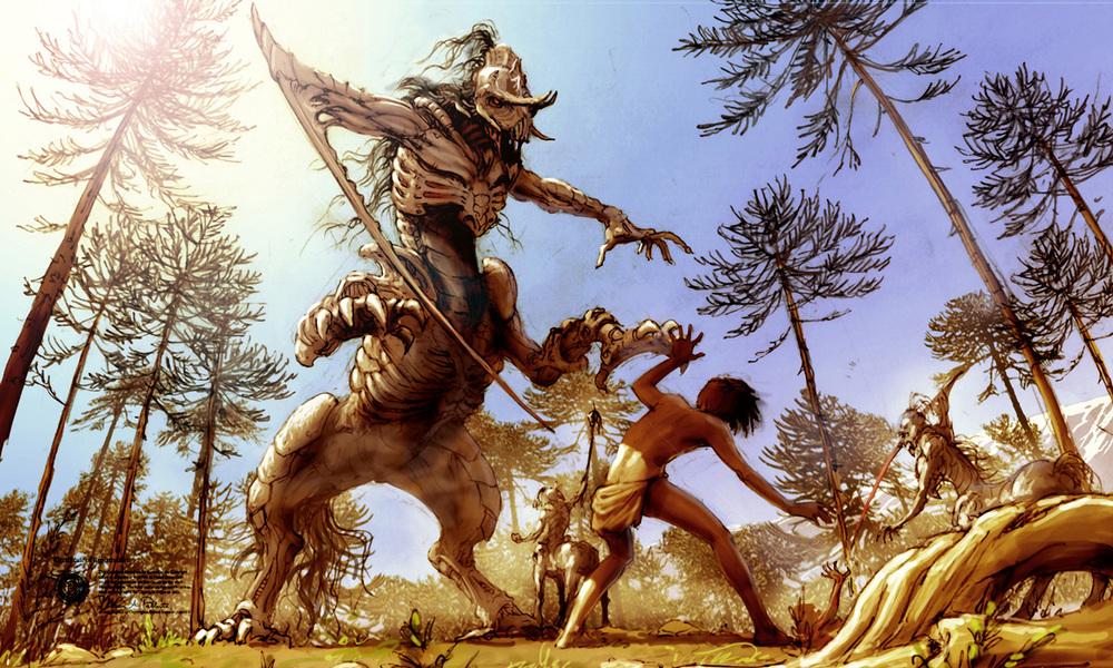 """Concept """"Encuentro""""    El Centauro ya definido adquiere una personalidad más única al presentarlo dentro del contexto de la película. En este caso, la escena de """"El Encuentro"""", luce el abdomen de la criatura en forma de serpiente."""