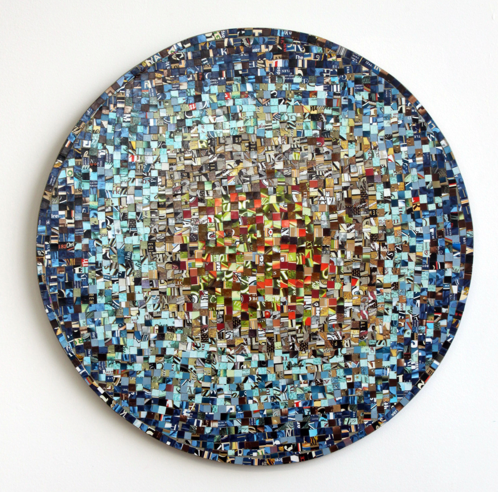 Recycled cardboard on panel  20 in. diameter  2013