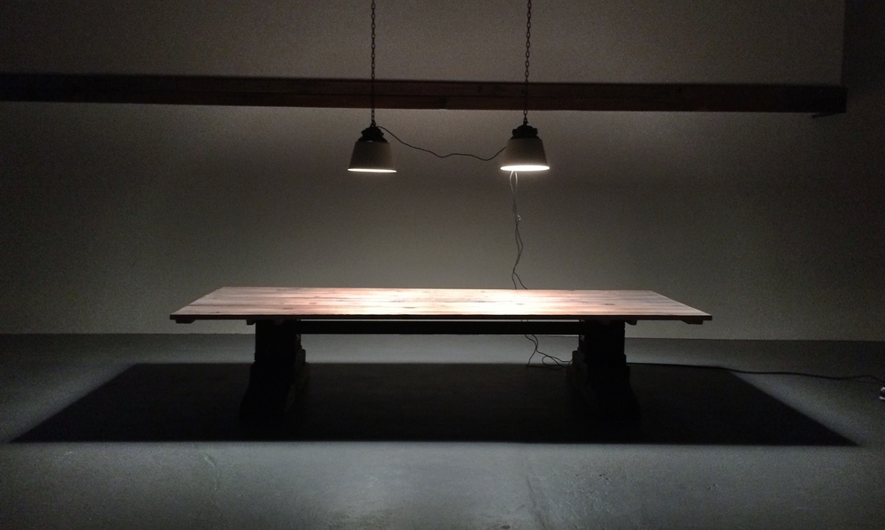 15' L x5' W  Conference Table, Materials: 300 year old Fir and Blackened Steel