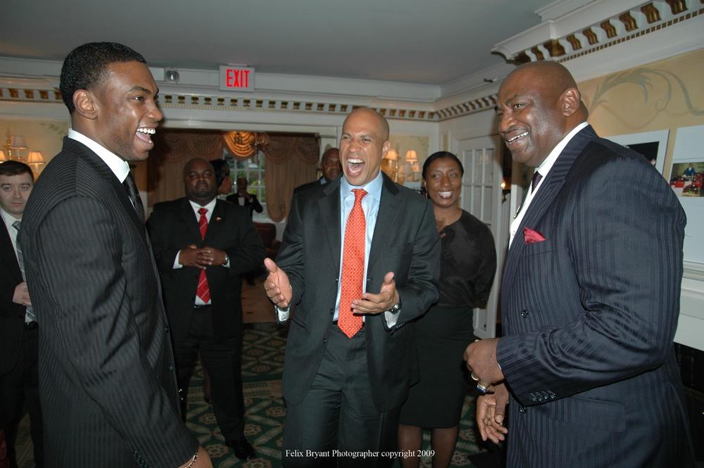 Newark Mayor Cory Booker with former New York Giant George Martin .jpg