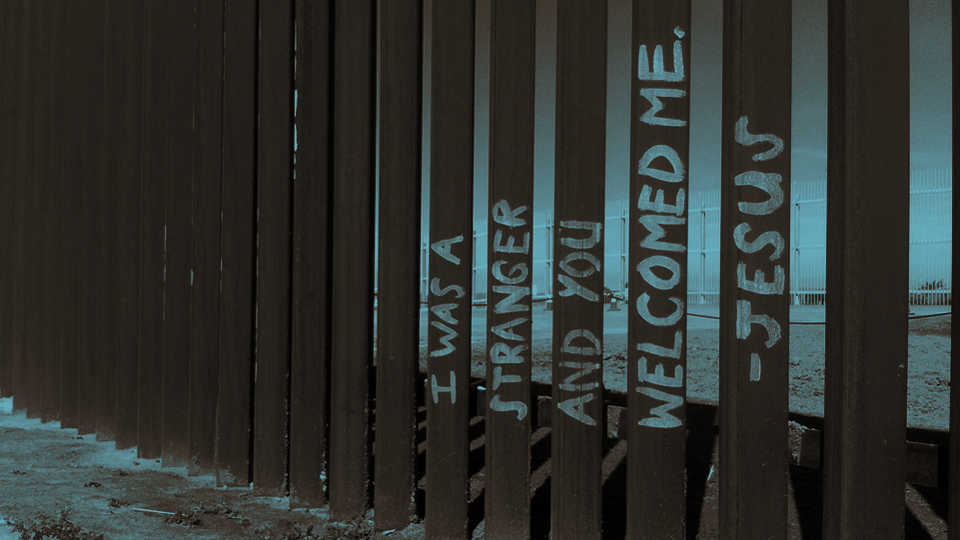 I Was A Stranger… [crop & color by K+S] / Border fence @ Playas de Tijuana / Adam McLane / CC via  Flickr