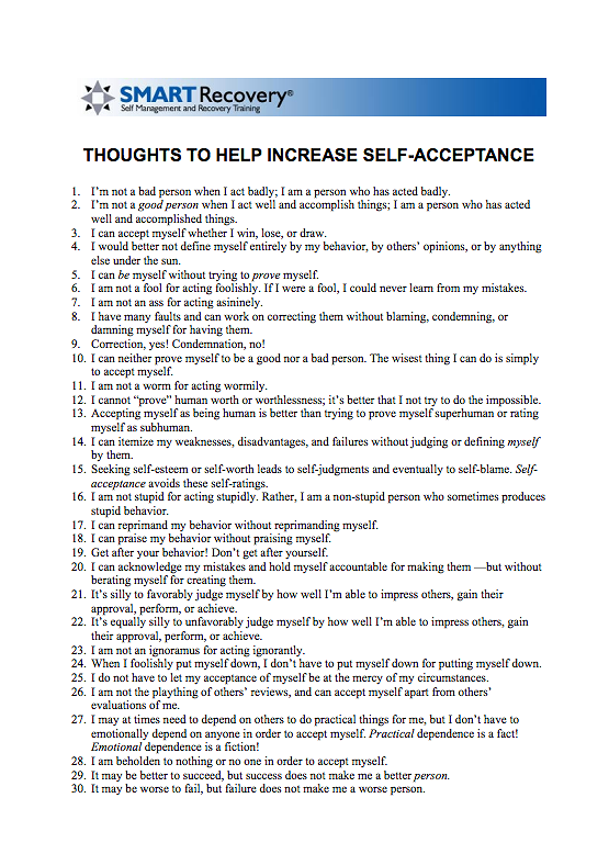 Worksheet Smart Recovery Worksheets i loved that sht the recovery self acceptance exercise from smartrecovery org