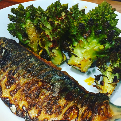 Pan Fried Mackerel, Roasted Paprika Romanesco Cauliflower.