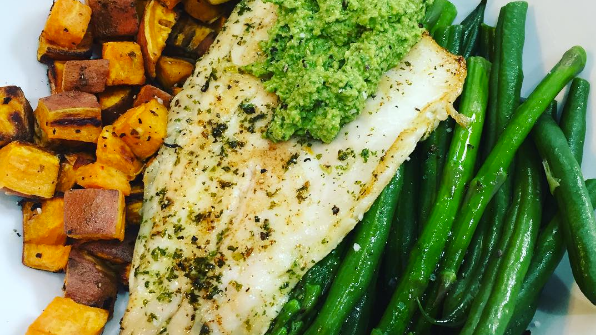 Pan Fried Seabass, Steamed Green Beans and Asparagus, Baked Sweet Potatoes and Rocket and Walnut Pesto.