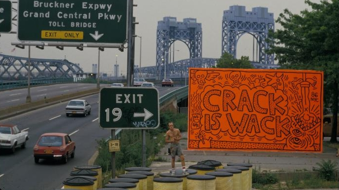 Crack Is Wack   [Manhattan, Harlem River Drive @ 128th Street]  / Keith Haring / 1986 / public art / photo Tseng Kwong Chi ///  More on the piece and   it's   history and evolution .